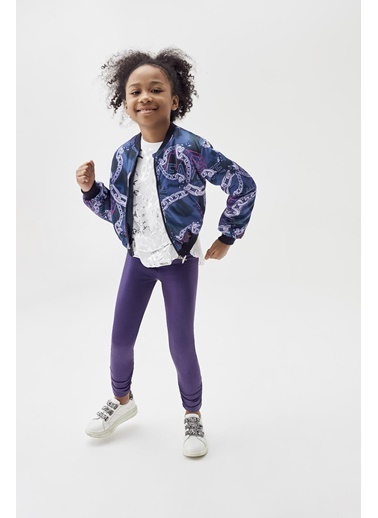 Tyess Kız Çocuk Desenli Bomber Ceket 20Pfwtj4703 Renkli